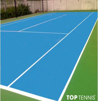 sơn cao su sân tennis 9 lớp decoturf us trên nền nhựa.