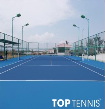 sơn sân tennis nền ciment sơn cao su 9 lớp plexipave usa.