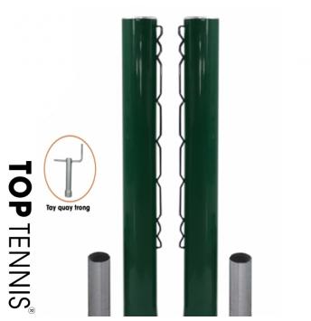 cột lưới toptennis thương mại có tay quay bên trong thuận tiện, ống sắt phi 90