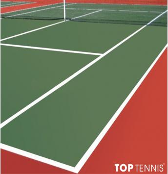 sơn sân tennis 6 lớp có cao su pu decoturf trên nền nhựa